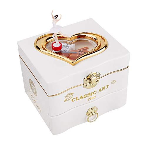InnerSetting Caja de música para niñas, Caja de música clásica giratoria para Bailarina, Piano, decoración del hogar, Joyas, Regalo para niña