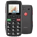 Seniorenhandy, Artfone Mobiltelefon Senioren-Handy Großtastenhandy ohne Vertrag mit großen Tasten 1.77 Zoll Farbdisplay Notruftaste Taschenlampe Kamera GSM Dual SIM Rentner Handy (Schwarz)