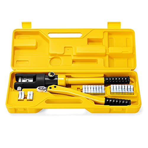 GOFLAME 16 Ton Hydraulic Wire Professional Hydraulic Battery Cable Lug Crimping Tool Set w 11 Dies