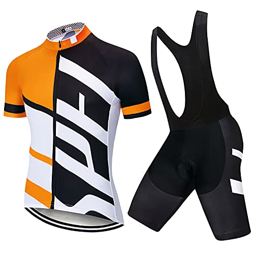 Abbigliamento Ciclismo da Uomo Completo Jersey Ad Asciugatura Rapida Giacca da Ciclismo + Shorts da Ciclismo con Gel Pad Anti-Sweat Anti-UV Abbigliamento per Bici da MTB (Arancio-Nero, XL)