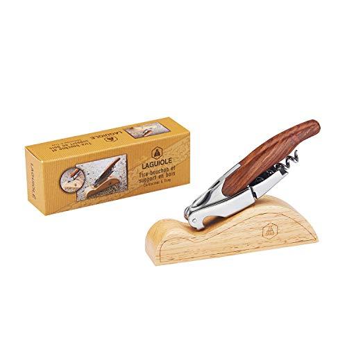 LAGUIOLE - Sommelier Doppelhebel - Edelstahl - Holzgriff - Holzpräsentationshalter - Messer mit Korkenzieher, Kapselschnitt & Flaschenöffnerfunktionen - Geschenkbox - Metall, Pakkaholz - Braun