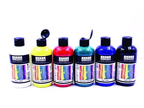 Südor Acrylfarben Set 6x250ml (1500 ml)-deckende Malfarben- schnell trocknend- hoher Anteil an Farb-Pigmenten, geeignet für Acryl Pouring, zum Malen auf Holz, Stein, Leinwand, Glas, Kunststoff, Pappe