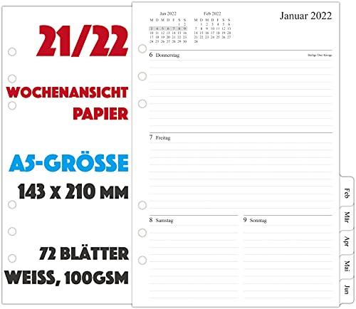 21/22 Wochenplaner Einlage A5-1 Woche auf 2 Seiten mit Tabs, Jul 2021 - Jun 2022