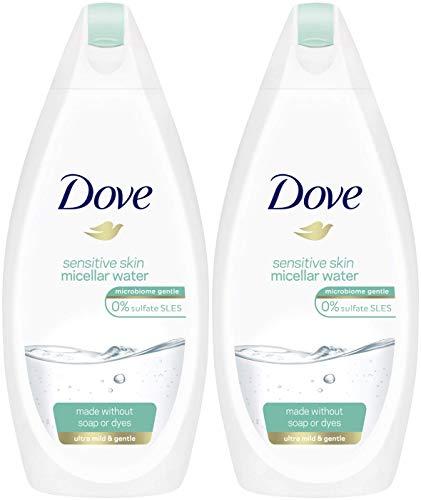 Dove Sensitive Skin Micellar Water Body Wash, 16.9 Ounce / 500 Ml (Pack of 2) International Version