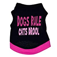 LNLW スウェット衣装犬の服コットンブラックプリント文字ペットベスト犬Tシャツ (色 : As shown, サイズ : M)
