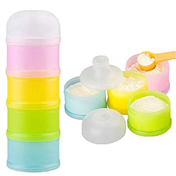 Formula Dispenser Kidsmile Twist-Lock Stackable On-The-Go BPA Free Milk Powder Box Baby Food Storage Container Snack Cups for Toddlers - 4 Feeds no Powder Leakage