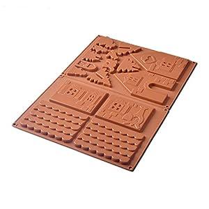 yyuezhi Moldes De Chocolate De Silicona para Galletas Galletas De Jengibre Casa Herramientas para Hornear 3D Casa de Pan de Jengibre de Navidad Molde Molde de Chocolate Creativo para árbol de Navidad
