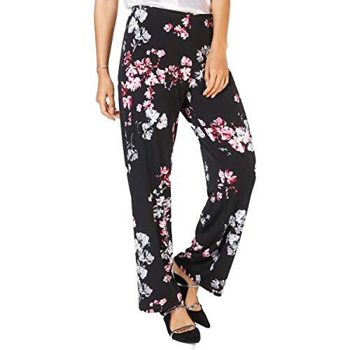 Alfani Womens Printed Wide Leg Casual Pants Black L