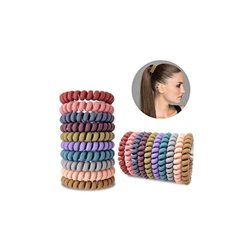 LATTCURE 20 Stück Spiral Haargummis, Spirale Telefonkabel Zopfgummi Telefonkabel Haarband Haargummi Haarring-Keine Falte Elastische Haargummis Fitness Haarband für Frauen und Mädchen Haarschmuck