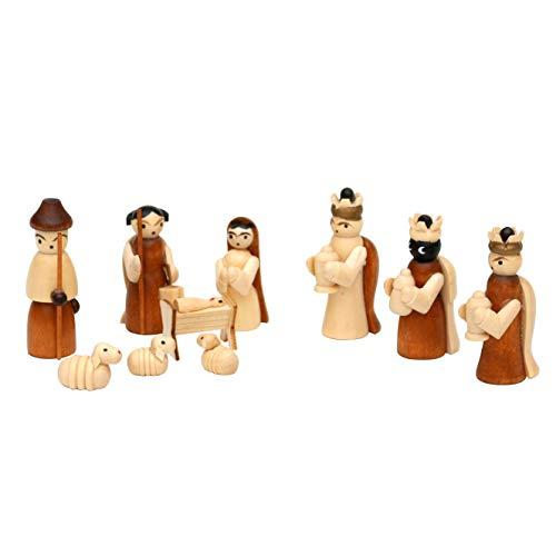 Dekohelden24 - Set di 10 statuette in legno, dimensioni: 1,7 x 2,8 x 5 cm