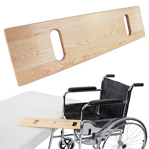 """Vive Transfer Board - Patient Slide Assist Device for Transferring Patient from Wheelchair to Bed, Bathtub, Toilet, Car - Bariatric Heavy Duty Wooden Sliding Transport Platform (30"""" x 7.5"""")"""