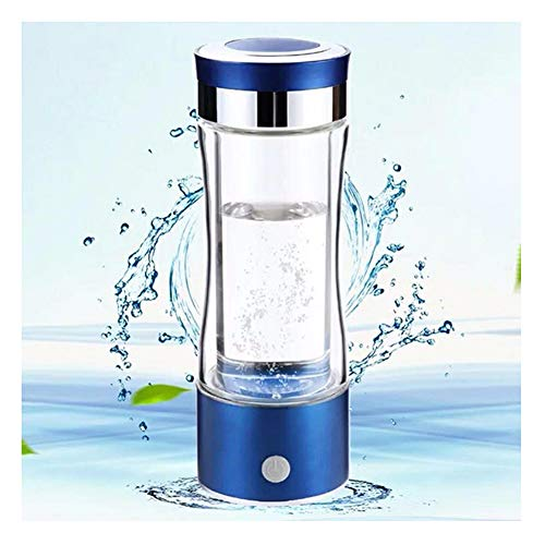 Glass Hydrogen Generator Water Bottle, High Grade Titanium Plates, Portable Molecular Hydrogen Cup, SPE PEM Technology Water Ionizer,Blue