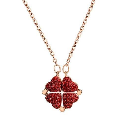 Glückliche vierblättrige Kleeblatt-Halskette, herzförmige und vierblättrige Kleeblatt-Cabrio-Anhänger-Halskette, Geschenke für Freunde, Mütter und Freundinnen (Rose gold)