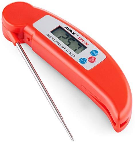 AVAX DT-X - Digital LCD Klapp Küchenthermometer Haushaltsthermometer, Perfect für Kochen, Grillen/BBQ, Baby Ernährung, Braten, Backen (ROT)