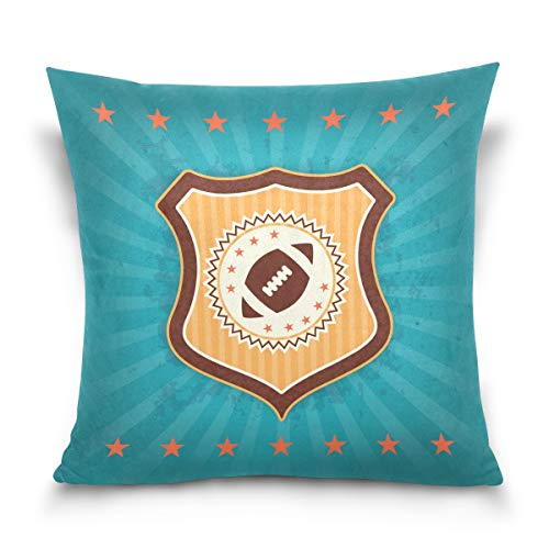 LORONA American Football Retro Badge Emblem Throw Pillow Case Home Decoration for Couch Sofa Cushion Cover 16