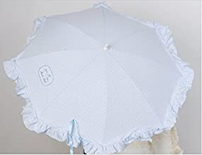 Sombrilla para silla de paseo + flexo universal. Parasol vichy azul