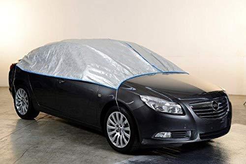Kley & Partner Halbgarage Auto Abdeckung Plane atmungsaktiv extrem leicht kompatibel mit Opel AGILA ab 2009 in Silber Exclusiv aus Tyvek mit Lagerbeutel