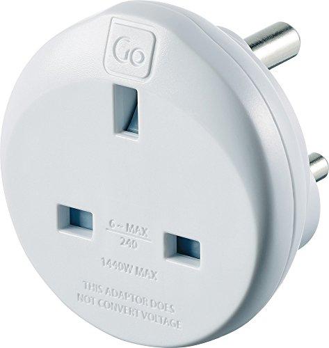 Go Travel Reino Unido a la India Convertidor de adaptador de corriente de viaje compacto con conexión a tierra (Adaptador Ref. 532)