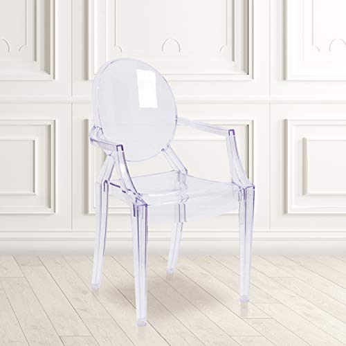 Flash Furniture 4 Pack Ghost Chair with Arms in Transparent Crystal