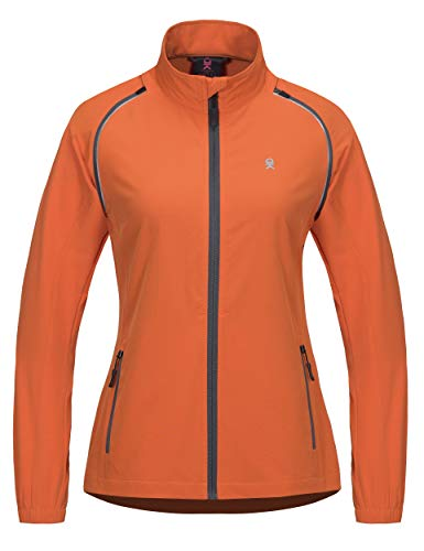 Little Donkey Andy Women's Quick-Dry Running Jacket, Convertible UPF 50+ Cycling Jacket Windbreaker with Removable Sleeves Orange Size XS