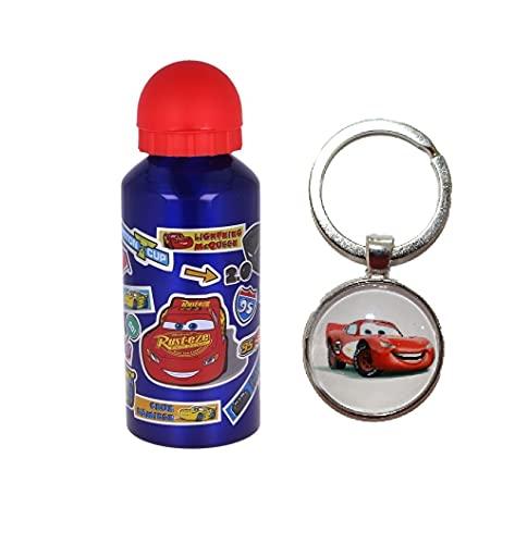 Cars - Borraccia sportiva in alluminio, 400 ml, per vacanze, rientro a scuola, acqua per bambini, pranzo e bambini, con portachiavi auto