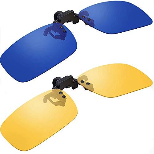Samfolk Clip Sonnenbrille Aufsatz Für Brillenträger, 2 STK Polarized Clip On Sunglasses mit Tag- und Nacht-Glas für Frauen und Männer (mit Brillen-Etui)