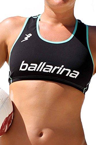 ballarina Beachvolleyball Player Top, schwarz-Aqua Green (L)