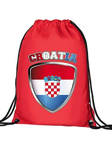 Golebros Kroatien Croatia Hrvatska Fan Artikel 4681 Fuss Ball Turn Sport Beutel Unisex EM 2020 WM 2022 Trikot Look Flagge Fahne Kinder Kids Junge Mädchen Rot