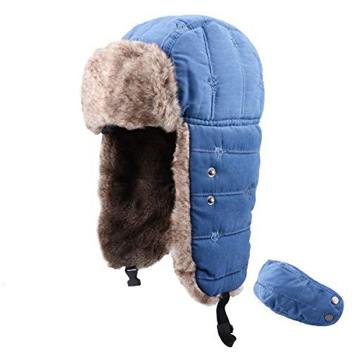 TRIWONDER Sombrero de Soldado de Esquí Térmico Invierno Gorros de Aviador Ruso Ushanka Gorras al Aire Libre (Azul - NO Impermeable)