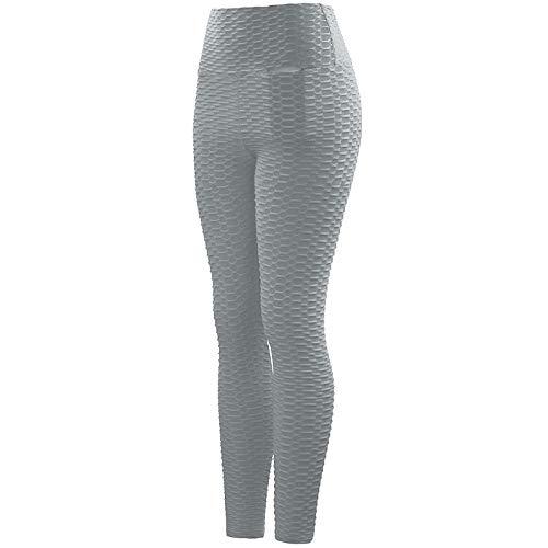 Qbesio Pantalones de Yoga de Bolsillo con Burbujas para Mujeres Que Hacen Ejercicio y corren con Cintura Alta Reductor Negras Deportivas Yoga