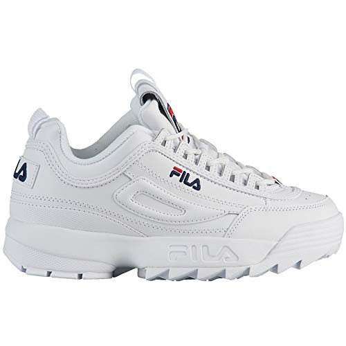 Fila Disruptor II FW02945-111 Leather Youth Trainers - White Peacoat Red - 38