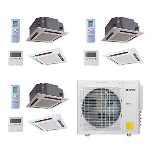 GREE MULTI30CCAS307-30,000 BTU Multi21+ Tri-Zone Ceiling Cassette Mini Split Air Conditioner Heat Pump 208-230V (12-12-18)
