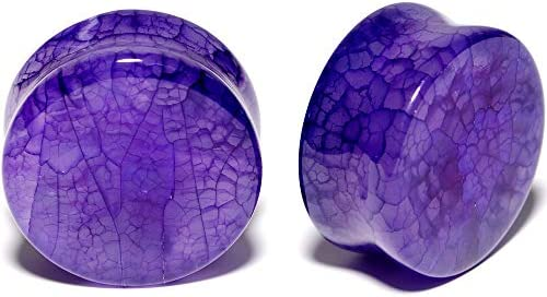Body Candy 1 Unisex 2PC Organic Solid Purple Stone Saddle Plugs Double Flare Plug Set Ear Plug product image