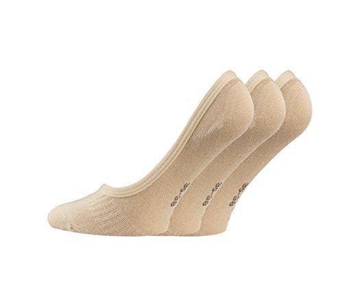 TippTexx24 6 Paar Füßlinge, unsichtbare Sneakersocken aus Bambusviskose mit Silicon-Pad (Beige, 43-46)