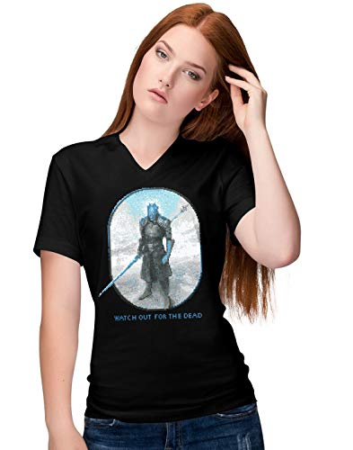 BLAK TEE Damen Watch Out for The Dead V-Neck T-Shirt S