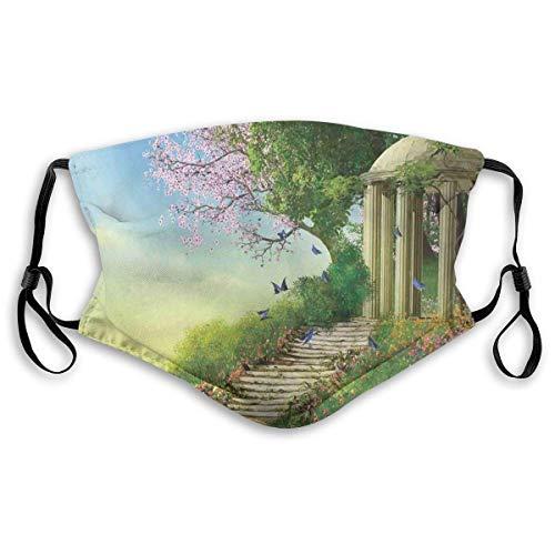 BDGAjdka Wiederverwendbarer Gesichtsschutz Mund Scraf Pavillon auf der Spitze eines Hügels mit Steintreppen und Blumen Magisches mittelalterliches Landfüller-Tuch für Erwachsene