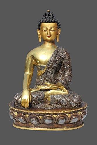 Asien Lifestyle Siddharta Gautama Buddha Figur aus Bronze, Nepal mit Teil Vergoldung