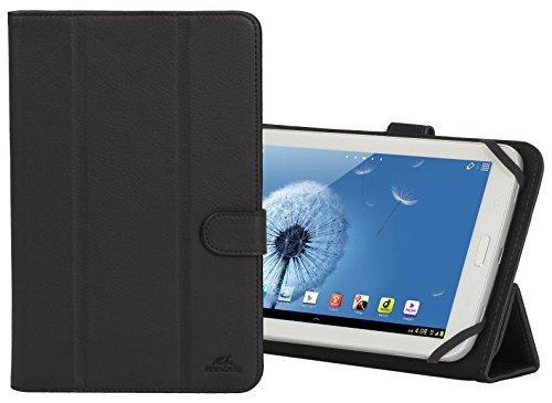 """RIVACASE Universal Hülle für Tablets bis 7"""" – Schöne Tasche mit Silikon-Montagesystem & Standfunktion durch Magnetclip - Schwarz"""