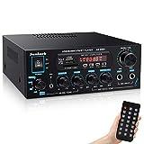 Sunbuck Mini Amplificador HiFi Audio Bluetooth, Receptor Amplificador Estéreo Doméstico de 200 W de Potencia, para Uso en Estudios de Entretenimiento en Teatro, con USB, Radio FM, Control Remoto