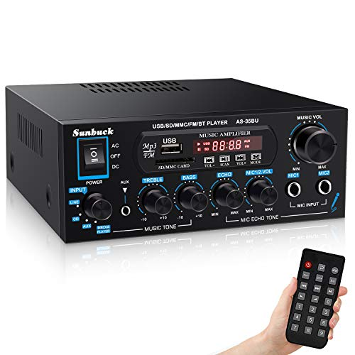 Wireless Bluetooth Audio Amplifiers, Sunbuck 200W Power Home Stereo Amplifier Receiver, with USB, SD Card, FM Radio, Remote Control, Dual Channel Sound, for Theater Entertainment Studio Use(AS-35BU)