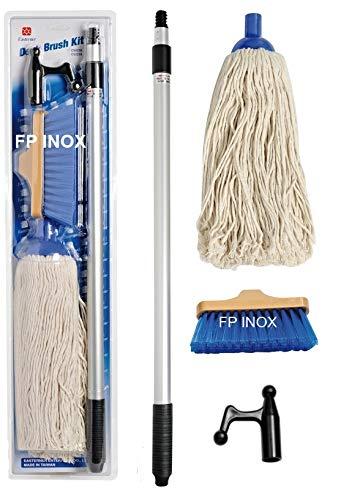 FP Edelstahl Reinigungsset, 1 Teleskop-Gaffe + 1 Spindel aus Baumwolle + 1 Faserbürste