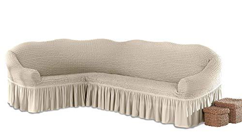 My Palace Beatrice elastischer Ecksofabezug mit Anti-rutsch Schaumstoffankern L-Form Sofahusse Eckcouch Cover Sofa Überwurf Spannbezug, Creme