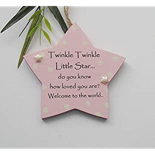 Twinkle Twinkle Baby Girl New Birth Wooden Keepsake Plaque