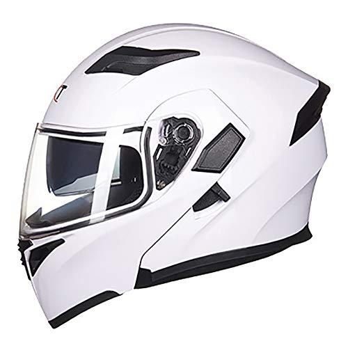 XQY Double Lens Motocross Helmet Men and Women Full Face Motorcycle Helmet Anti-Fog Beach Racing Helmet Mountain Bike All-Around Helmet Adult Downhill Helmet,White,XL