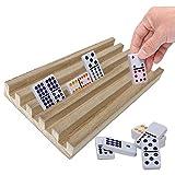 bozitian 4PCS/Set Domino Holder Racks, Premium Domino Azulejos Bandejas de Madera Titulares Para Juegos de Mesa Artesanía Pie de Pollo Tren Mexicano Domino