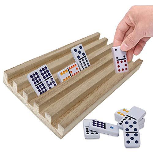 Fancylane 4 soportes de madera para dominó o dominó, para baldosas, para azulejos de dominó, tren mexicano Mahjong