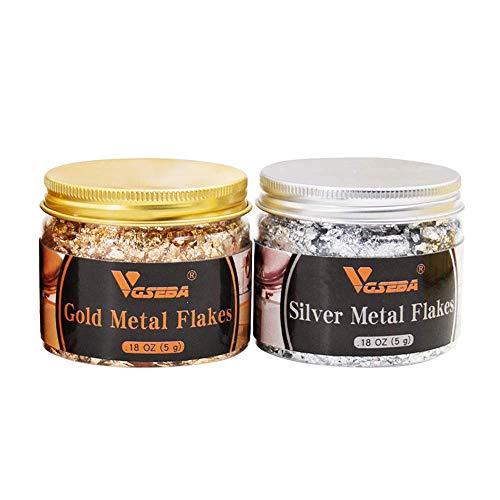 VGSEBA Gold Leaf Flakes, 5 Grams Gold Resin Flakes, 5 Grams Aluminum Leaf Flakes for Resin, Painting Arts, Crafts Nails and DIYS Decoration ( Gold + Silver )