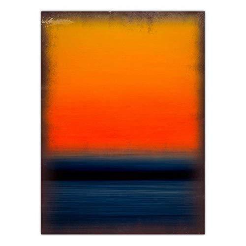 ZMCW Kunstdruck Auf Leinwand,Mark Rothko Abstrakte Retro Geometrische Farbe Deep Blue See Orange Sky, Große Größe Gedruckt Tapisserie, Für Home Schlafzimmer Schlafzimmer Dekoration Verwendet Werden,