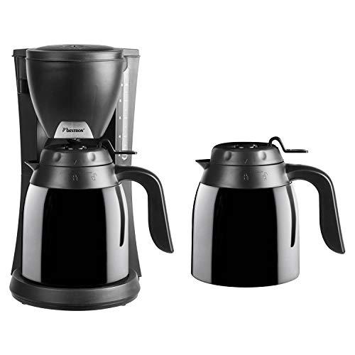 Bestron Kaffeemaschine mit 2 Thermokannen, Für gemahlenen Filterkaffee, 10 Tassen, 800 Watt, Schwarz