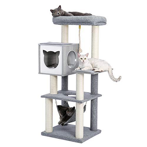 PAWZ Road Luxus Katzenbaum Medium Katzenspielturm, Activity Center, stabil und stabil, Katzenbaum mit Hängematte und schönem Katzenhaus grau 132 cm